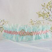 """Свадебный салон ручной работы. Ярмарка Мастеров - ручная работа Подвязка для невесты """"Мятно-розовая"""". Handmade."""
