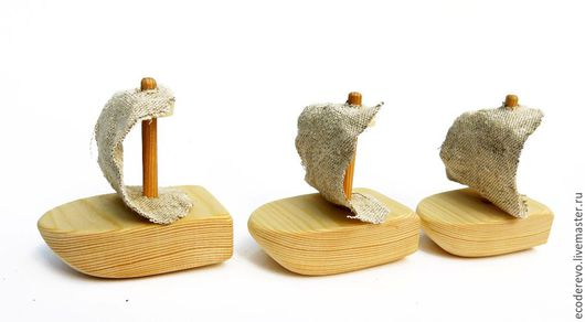 Техника ручной работы. Ярмарка Мастеров - ручная работа. Купить Деревянный кораблик с парусом. Handmade. Комбинированный, игрушки ручной работы