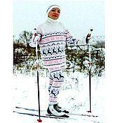 Одежда ручной работы. Ярмарка Мастеров - ручная работа Вязаный норвежский комплект свитер Нежно-снежный и леггинсы. Handmade.