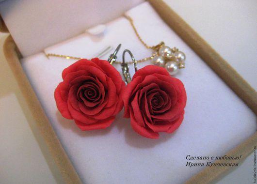Серьги ручной работы. Ярмарка Мастеров - ручная работа. Купить Серьги розы цветы красный. Handmade. Ярко-красный