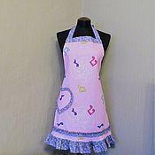 Для дома и интерьера ручной работы. Ярмарка Мастеров - ручная работа фартук-передник кухонный  женский нотки на розовом. Handmade.