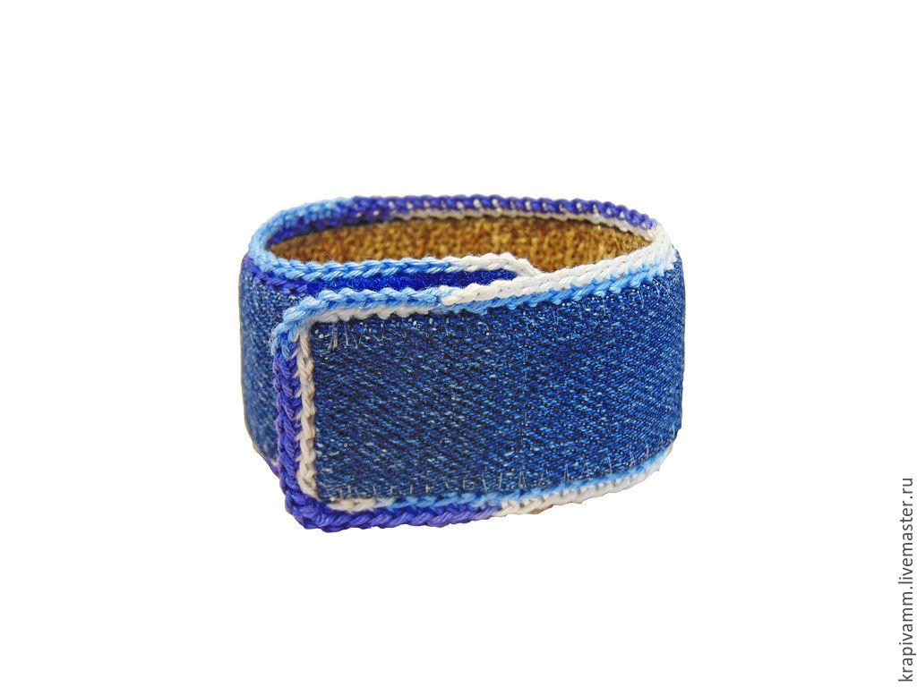 Nettle bracelet with denim top, Cuff bracelet, Orel,  Фото №1