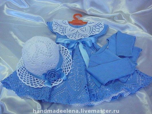 платье, комплект для девочки, подарок  девочке панамка, вязаное платье