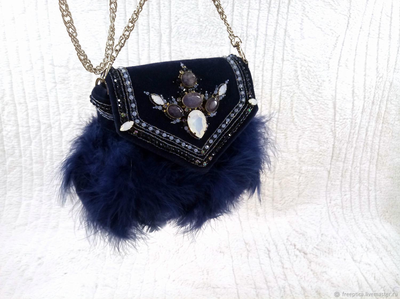 Вечерняя вышитая сумочка  цвета индиго (темно синяя), Классическая сумка, Бологое,  Фото №1
