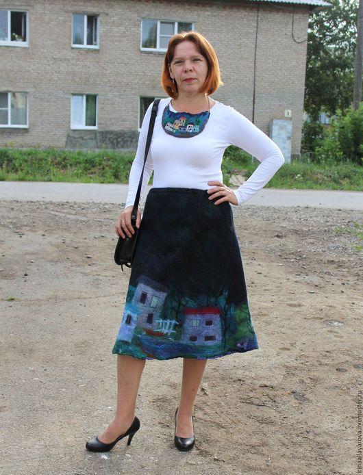 """Юбки ручной работы. Ярмарка Мастеров - ручная работа. Купить Валяная юбка """"Любимый город"""". Handmade. Юбочка, юбка офисная"""