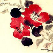 Картины и панно ручной работы. Ярмарка Мастеров - ручная работа Картина на рисовой бумаге Камелия и птички. Handmade.