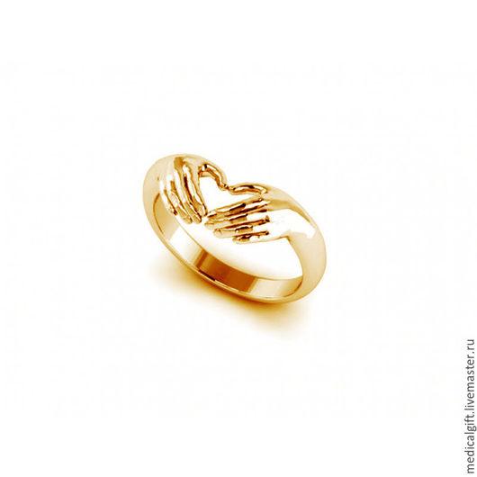 """Кольца ручной работы. Ярмарка Мастеров - ручная работа. Купить Кольцо """"Руки и сердце"""", серебро 925 пробы, позолота. Handmade."""