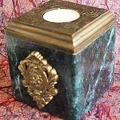 Для дома и интерьера ручной работы. Ярмарка Мастеров - ручная работа Короб-подсвечник Змеевик в старом золоте. Handmade.