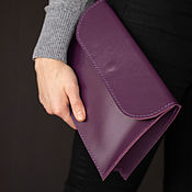 Сумки и аксессуары handmade. Livemaster - original item Purple clutch (leather clutch bag). Handmade.