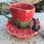 """Чайные пары ручной работы. Ярмарка Мастеров - ручная работа Чайная пара """"Клубничное чаепитие"""". Ручная работа.. Handmade."""