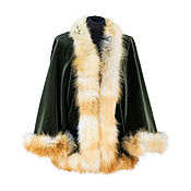 Одежда handmade. Livemaster - original item Velvet short coat with Fox fur. Handmade.