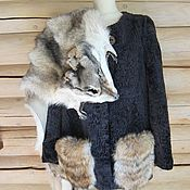 Одежда handmade. Livemaster - original item 40-66! AVAILABLE coat-a jacket with patch pockets fur of the wolf. Handmade.