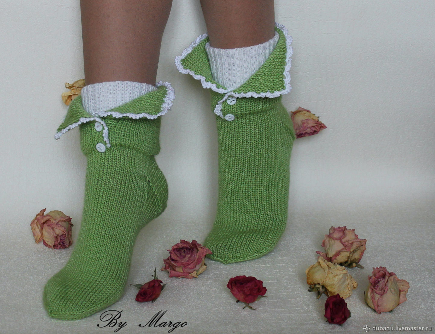 Knitted socks with lace, handmade, Socks, Moscow,  Фото №1
