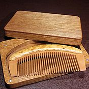 Сувениры и подарки handmade. Livemaster - original item Wooden comb from apricot in a casket made of natural oak. Handmade.