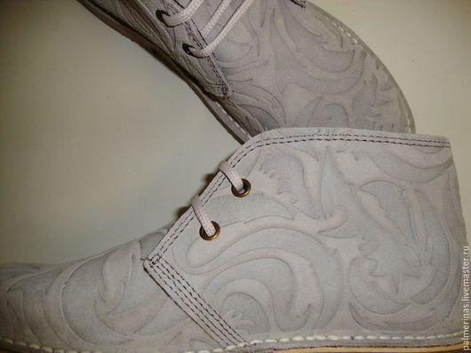 Обувь ручной работы. Ярмарка Мастеров - ручная работа. Купить Серые ботинки из замши Барокко. Handmade. Серый, обувь на заказ