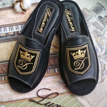Обувь ручной работы. Ярмарка Мастеров - ручная работа Темно-синии тапочки именные. Handmade.