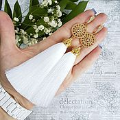Украшения ручной работы. Ярмарка Мастеров - ручная работа Серьги кисти позолоченные белые. Handmade.