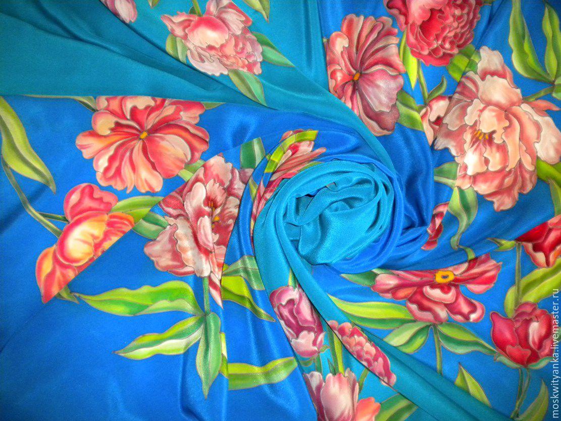 Яркие платочки с пионами - прекрасное дополнение к образу! На фото 4 платочка!