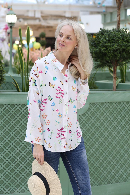 Рубашка свободного кроя из лёгкого штапеля Цветочный луг, Блузки, Москва,  Фото №1