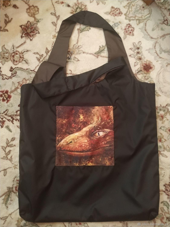 Shopping bag black with dragon author's print eco bag, Shopper, St. Petersburg,  Фото №1