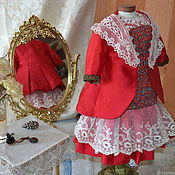 Куклы и игрушки handmade. Livemaster - original item Doll clothes: red dress for antique doll.. Handmade.