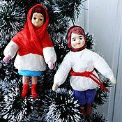 Подарки к праздникам ручной работы. Ярмарка Мастеров - ручная работа Мальчик и девочка (репродукция ретро игрушек) - ватная игрушка. Handmade.