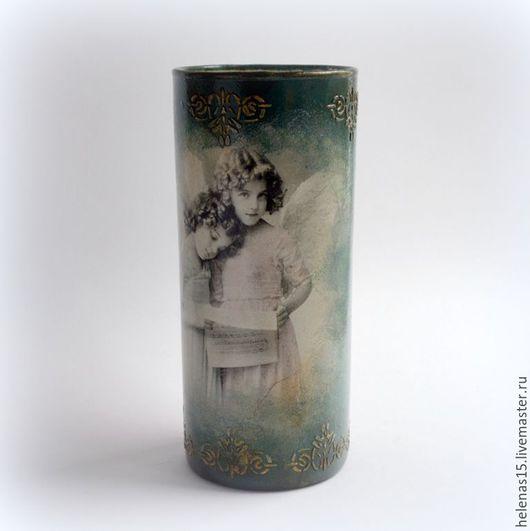 Вазы ручной работы. Ярмарка Мастеров - ручная работа. Купить Винтажная ваза для цветов Ангелы Стеклянная ваза Декупаж. Handmade.