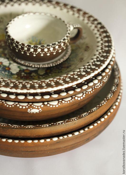 Тарелки ручной работы. Ярмарка Мастеров - ручная работа. Купить Блюдо керамическое  (майолика). Handmade. Керамика, посуда с росписью