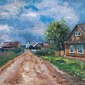 Картины и панно handmade. Livemaster - original item Pictures: Before a thunderstorm Landscape Summer in the village. Handmade.