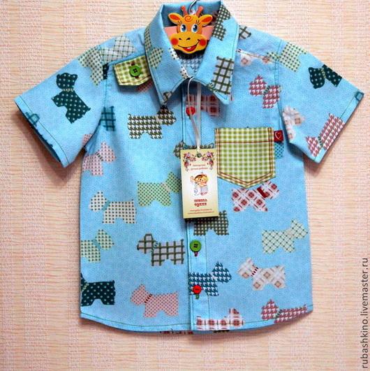 """Одежда для мальчиков, ручной работы. Ярмарка Мастеров - ручная работа. Купить Рубашка """"Дружок"""". Handmade. Голубой, дизайнерская одежда"""