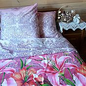 Для дома и интерьера handmade. Livemaster - original item Bed linen Lilies. Handmade.