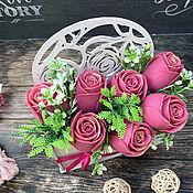 Косметика ручной работы handmade. Livemaster - original item Soap bouquet in a wooden pot Burgundy roses. Handmade.