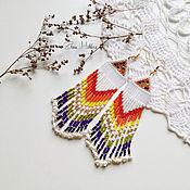 """Украшения ручной работы. Ярмарка Мастеров - ручная работа Серьги из бисера в индейском стиле """"Радуга на снегу"""". Handmade."""