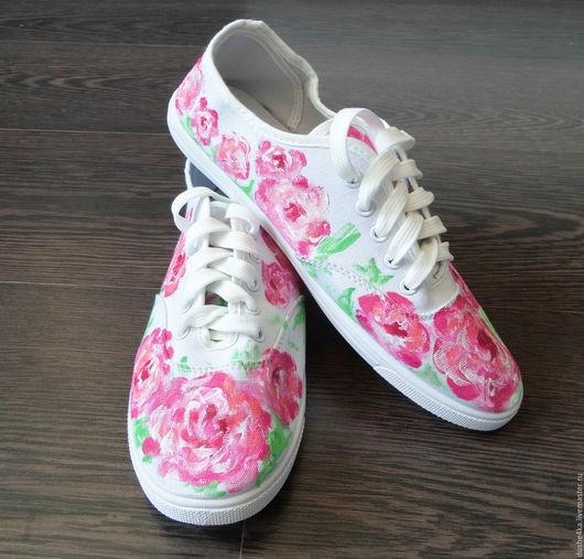 """Обувь ручной работы. Ярмарка Мастеров - ручная работа. Купить Кеды  женские с цветами с рисунком на заказ  """"Розовые пионы"""".. Handmade."""