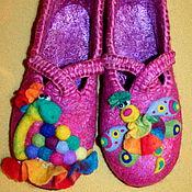 """Обувь ручной работы. Ярмарка Мастеров - ручная работа Валяные тапочки """"Он пригласил Ее в полет """". Handmade."""