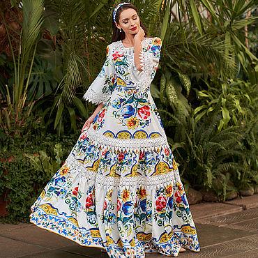 Одежда ручной работы. Ярмарка Мастеров - ручная работа Яркая Италия платье с отделкой кружевами , расцветка Dolce&Gabbana. Handmade.