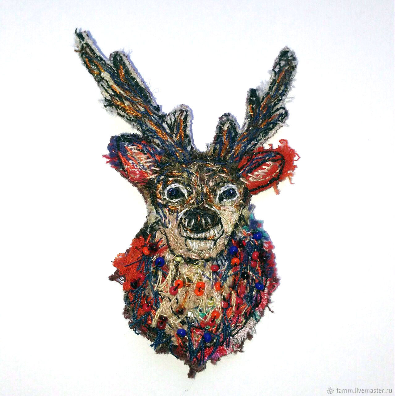 Brooch Deer. Hand embroidery, Brooches, Tver,  Фото №1
