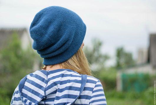 Шапки ручной работы. Ярмарка Мастеров - ручная работа. Купить Кашемировая двойная шапка мешок.. Handmade. Синий, синяя шапка