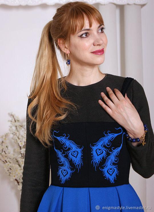 Warm MIDI dress with straps, black and blue dress, warm skirt, Dresses, Novosibirsk,  Фото №1