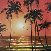 Картины и панно ручной работы. Ярмарка Мастеров - ручная работа Закат на побережье. Handmade.