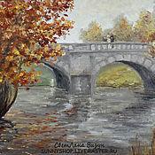 """Картины и панно ручной работы. Ярмарка Мастеров - ручная работа Картина маслом """"Осень. Двое на мосту"""" (осень). Handmade."""
