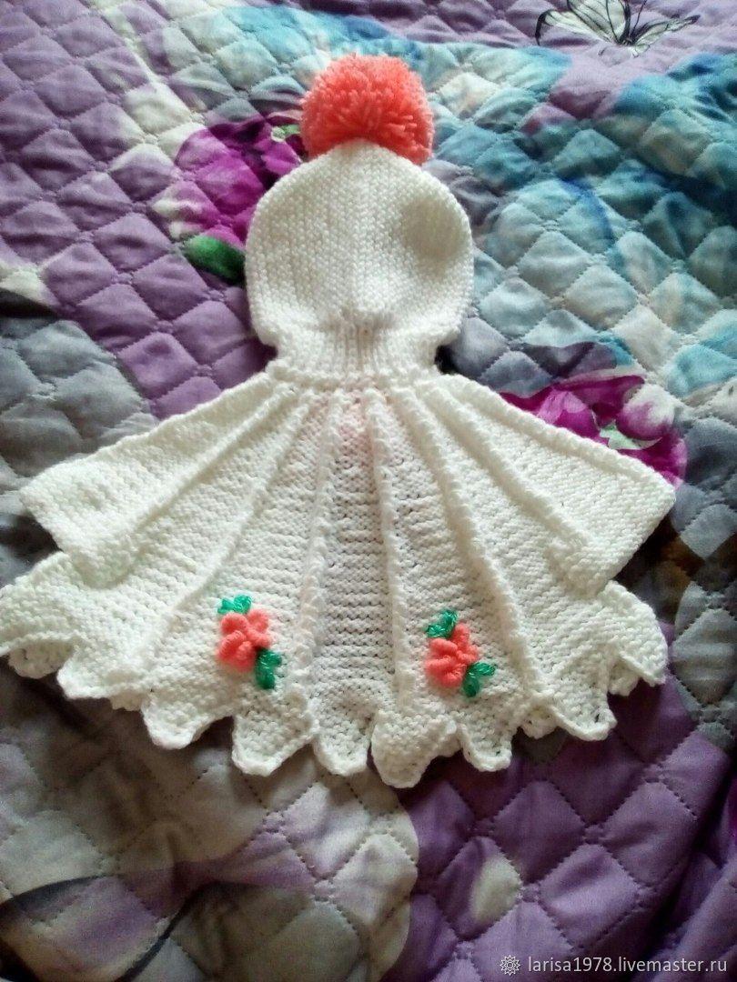 Пончо-накидка с капюшоном вязаное для девочки