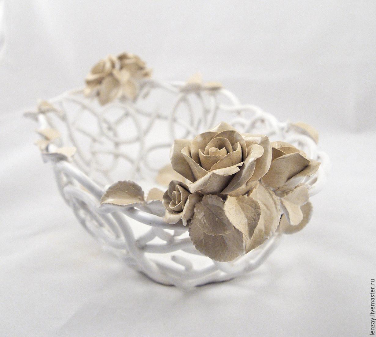 The handmade `Shabby Chic` oval. Braided ceramic and ceramic flowers Elena Zaichenko