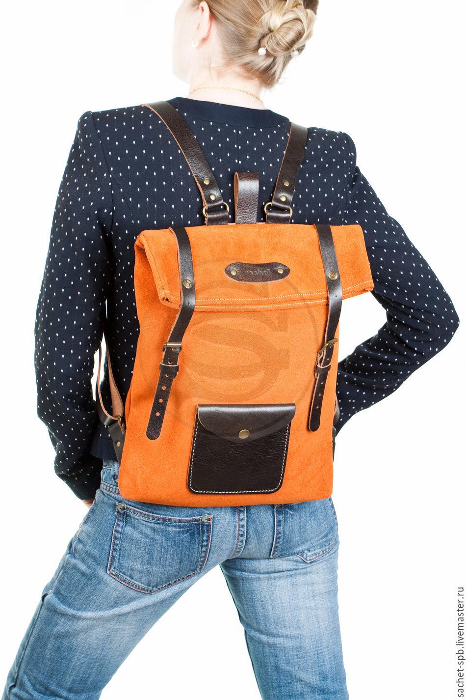 Backpack leather orange Vogue, Backpacks, St. Petersburg,  Фото №1
