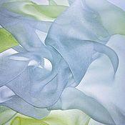 Аксессуары handmade. Livemaster - original item Silk handkerchief batik chiffon summer neckerchief light gray. Handmade.