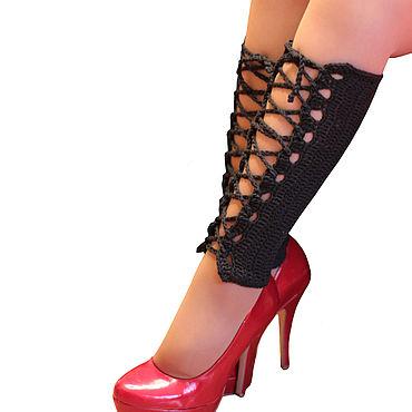 Аксессуары ручной работы. Ярмарка Мастеров - ручная работа Гетры со шнуровкой на ноги вязаные чулки. Handmade.