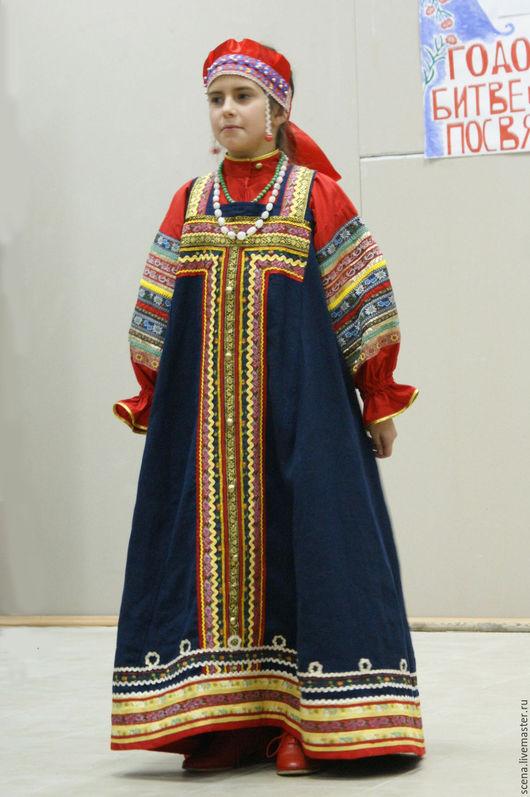 Одежда ручной работы. Ярмарка Мастеров - ручная работа. Купить народный костюм женский. Handmade. Детский сарафан, тёмно-синий