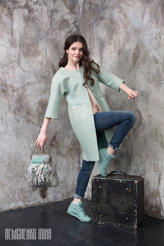 Пиджаки, жакеты ручной работы. Ярмарка Мастеров - ручная работа. Купить Валяное  пальто «Аромат весны». Handmade. Мятный, нежность