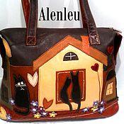 """Сумки и аксессуары ручной работы. Ярмарка Мастеров - ручная работа """"Кошки в городе"""" сумка из натуральной кожи. Handmade."""