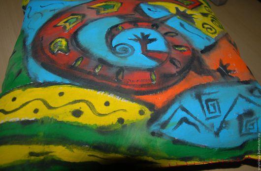 """Текстиль, ковры ручной работы. Ярмарка Мастеров - ручная работа. Купить Декоративная подушка """"Африка - стихия Земли"""". Handmade. Комбинированный"""